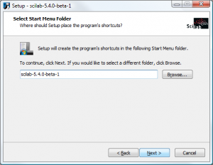 Scilab on Windows - Select Start Menu Folder