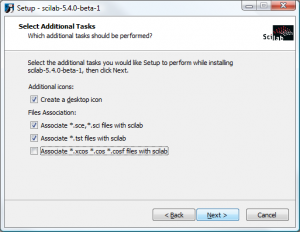 Scilab on Windows - Select Additional Tasks
