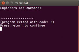 C code output (Linux Ubuntu)