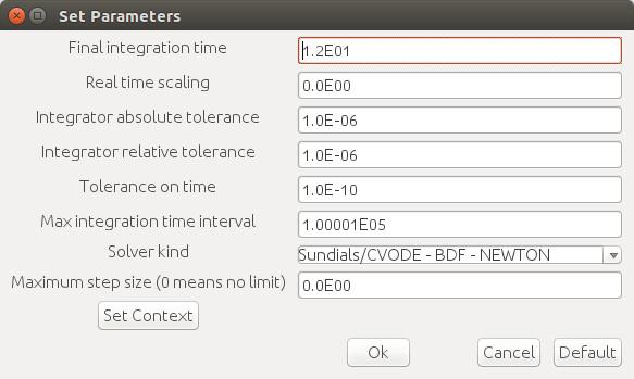 Predator-prey model - simulation parameters