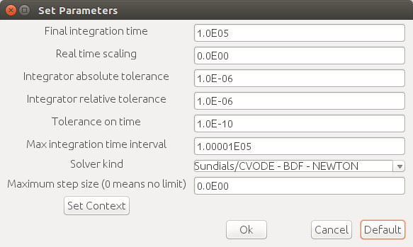 Xcos Simulation Set Parameters (default values)