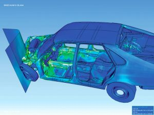 A visualization of a vehicle asymetrical collision analysis using FEA method