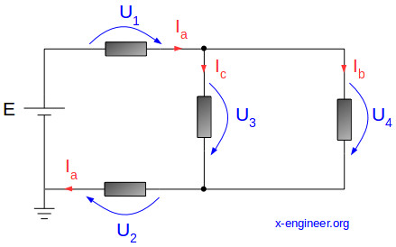 Simple electric circuit schematic - voltages and currents