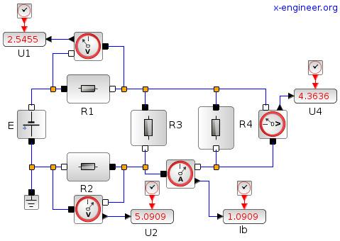 Simple electric circuit - Xcos block diagram