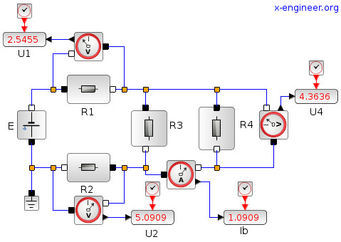 Simple electric circuit - Xcos block diagram