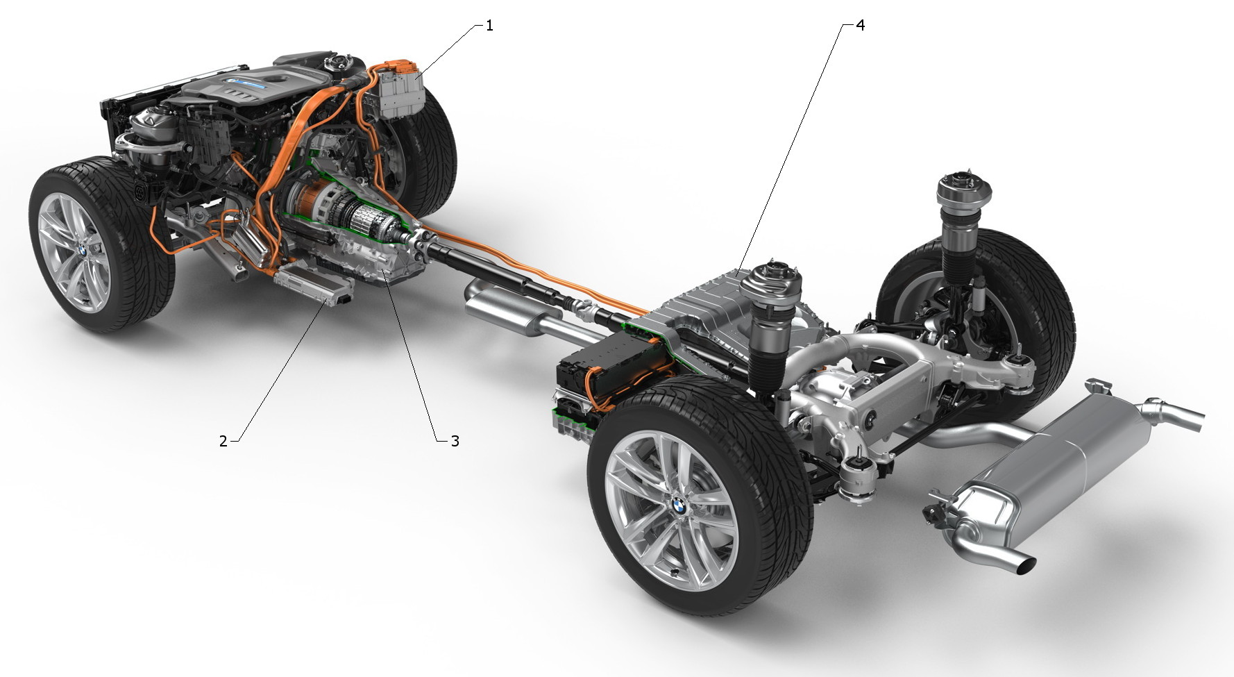 BMW 740e iPerformance plug-in hybrid electric vehicle (PHEV) main electrical components