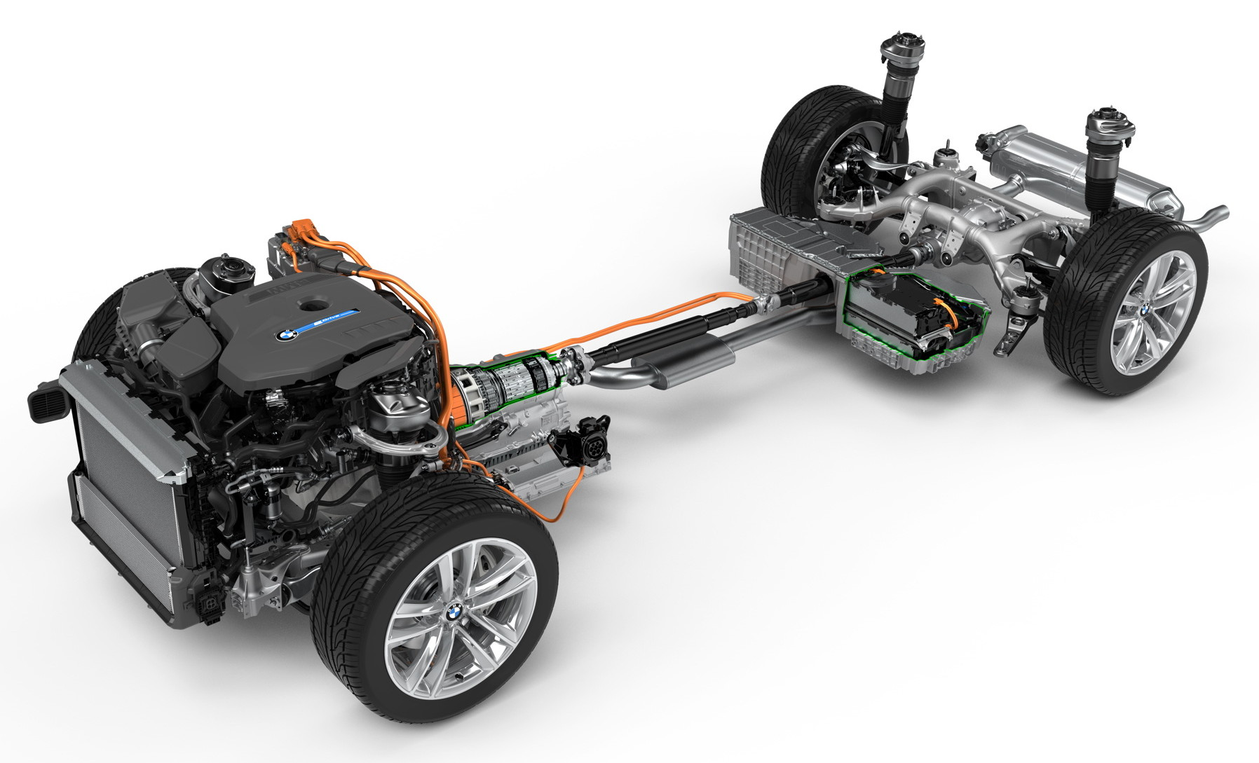 BMW 740e iPerformance plug-in hybrid electric vehicle (PHEV) powertrain and drivetrain