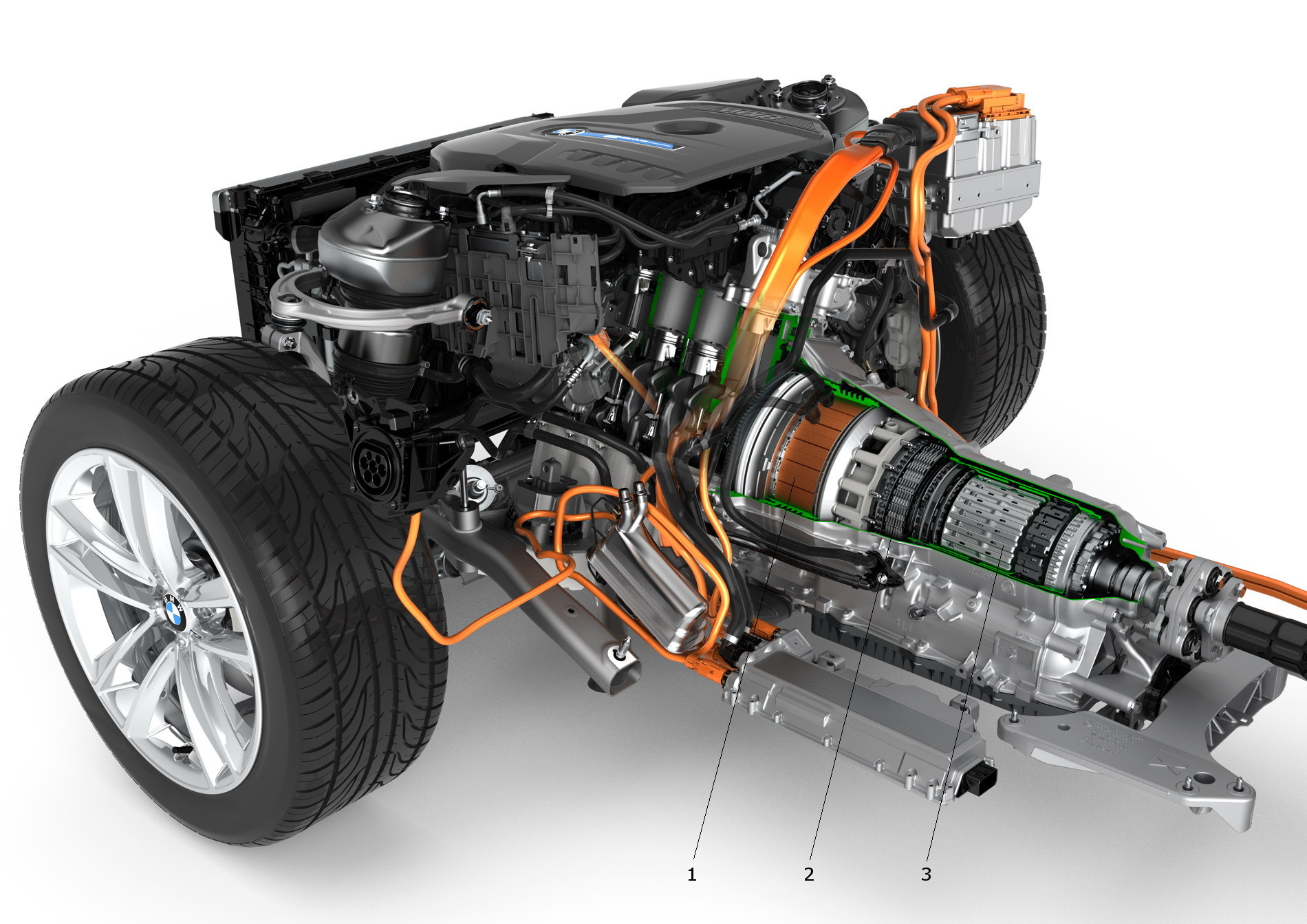 BMW 740e iPerformance plug-in hybrid electric vehicle (PHEV) transmission components