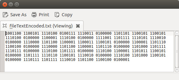 Binary encoding of the text file