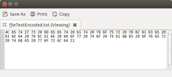 Hexadecimal encoding of the text file
