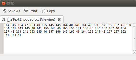 Octal encoding of the text file