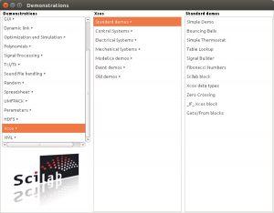 Scilab - Xcos Demonstrations window