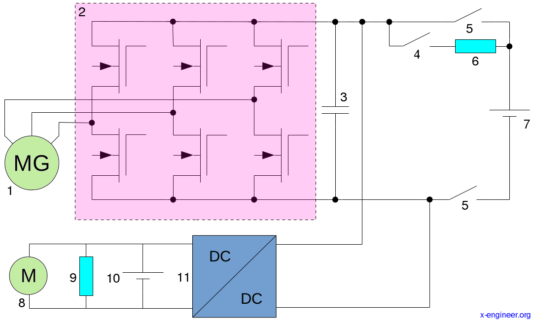 Electrical system topology (architecture) of a MHEV